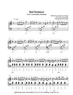 Bad Romance by Lady Gaga Piano Sheet Music   Intermediate Level