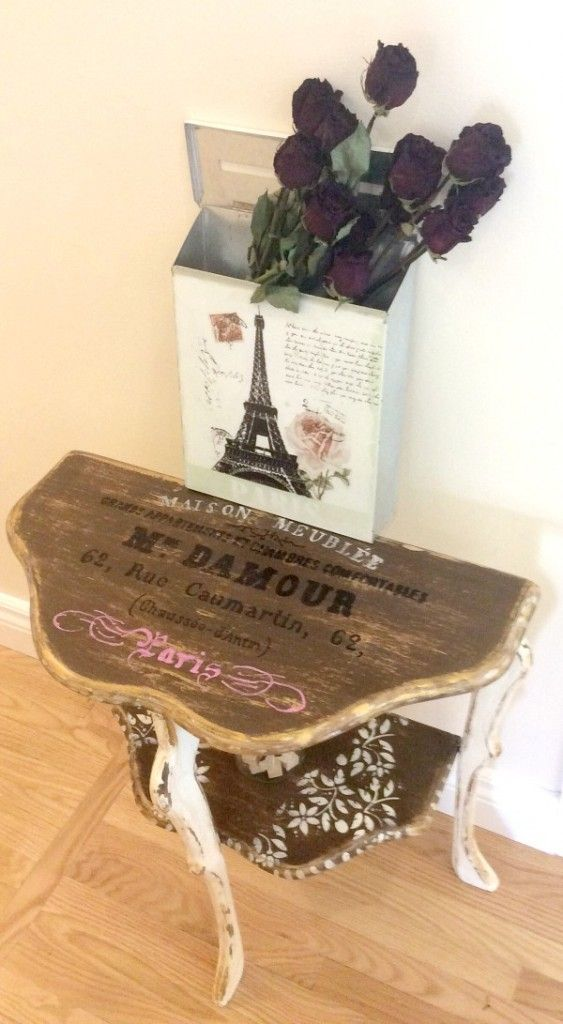 refinished antique half moon table reader tutorial
