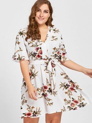38955e0c287 Plus Size Belted Floral Dress - White Xl