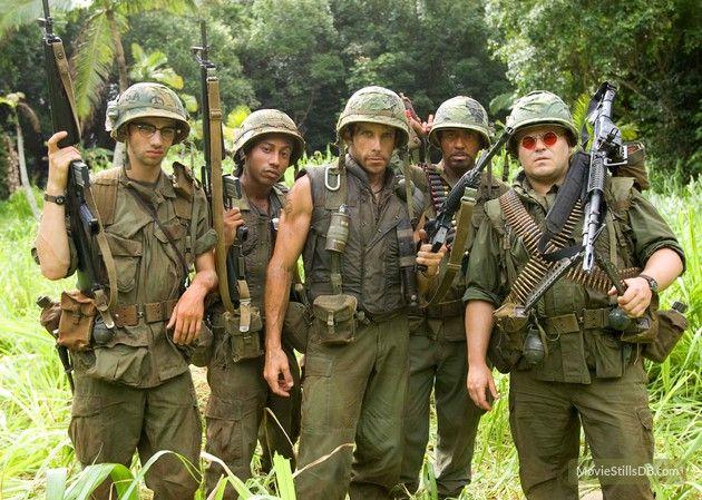 Tropic Thunder publicity still of Jack Black, Robert Downey Jr., Ben Stiller, Brandon T. Jackson & Jay Baruchel