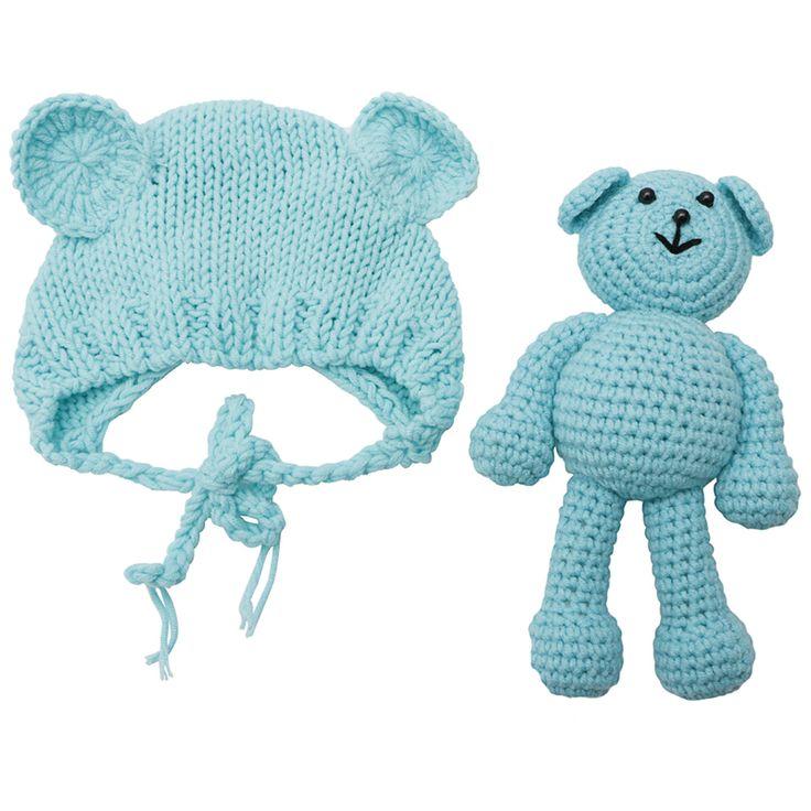新生児の赤ちゃんクマの帽子写真の小道具かぎ針編みビーニー写真アクセサリー
