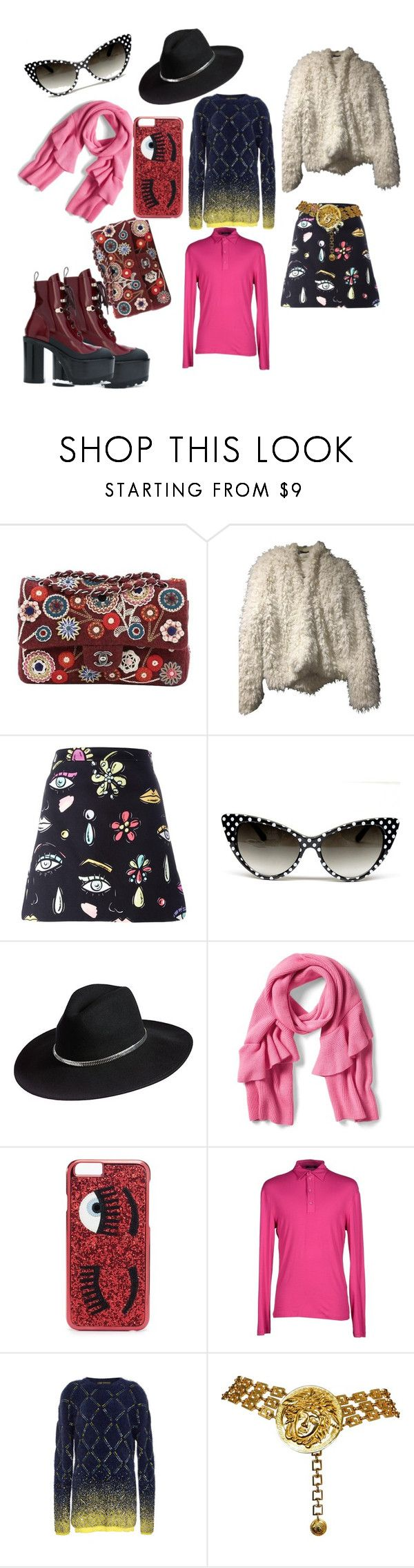 """""""Ragazza Posh pt1"""" by shadowsweety on Polyvore featuring Chanel, Boutique Moschino, Overland Sheepskin Co., Chiara Ferragni, Versace Jeans Couture and Versace"""