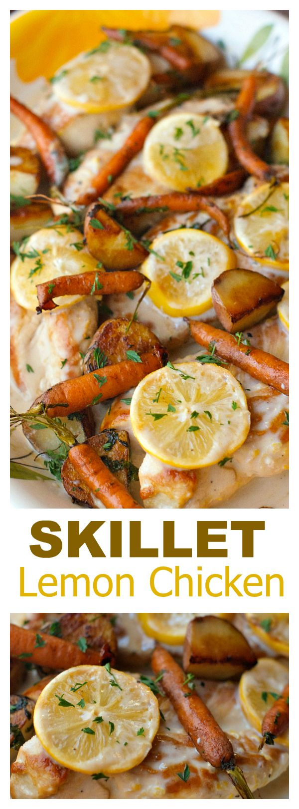 Skillet Lemon Chicken is the chicken and vegetables dish, with a very simple cream sauce drizzled over the roasted flavors, for a potluck or weeknight meal!