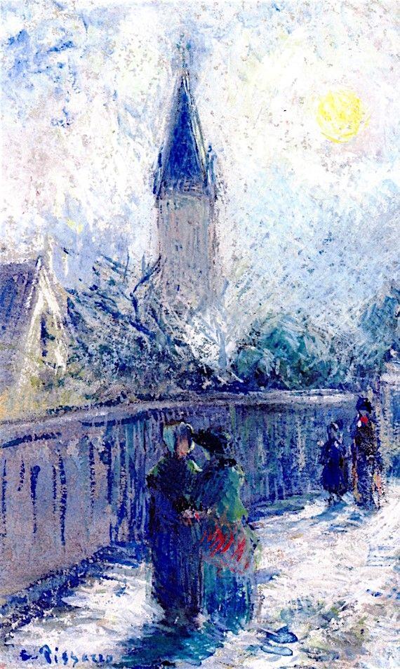 """Camille Pissarro (1830-1903) ~ """"Londres, Upper Norwood, All Saint's Church"""", c.1871 (Détail) ~ Gouache ~ Collection Privée"""