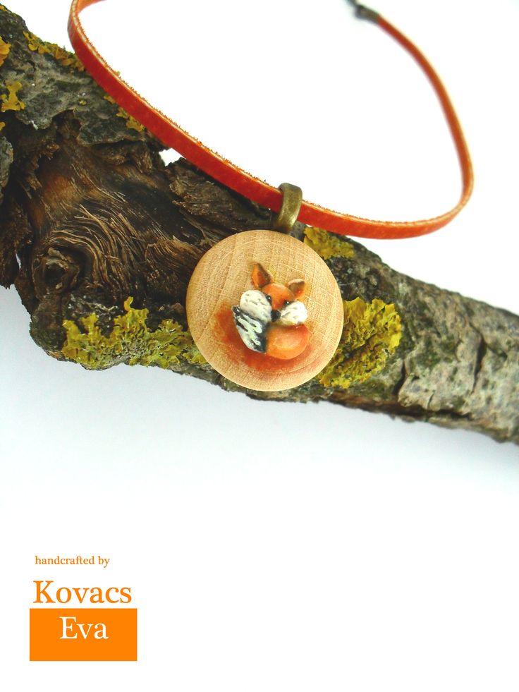 Fox pendant on leather necklace.Handmade 3D fox on wood pendant. Woodland pendant.