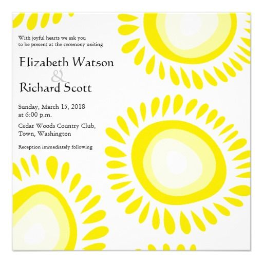 Lovely yellow funky flowers wedding invitation #yellow #weddinginvitations #weddings #wedding #invitations #savethedate