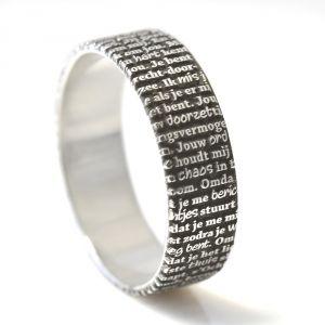 Tekstring - Waarom ik van je houd...  Zilveren ring met eigen Tekst - €134.95