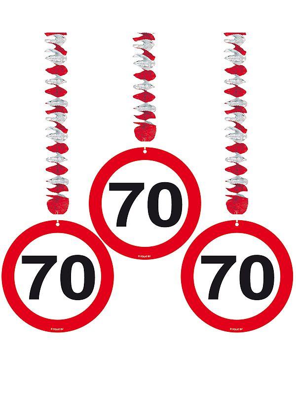 Vrolijke rotorspiralen 70 jaar verkeersborden 3 stuks. Feestelijke decoratie voor een 70e verjaardag. U ontvangt drie stuks van deze stopbord rotorspiralen.