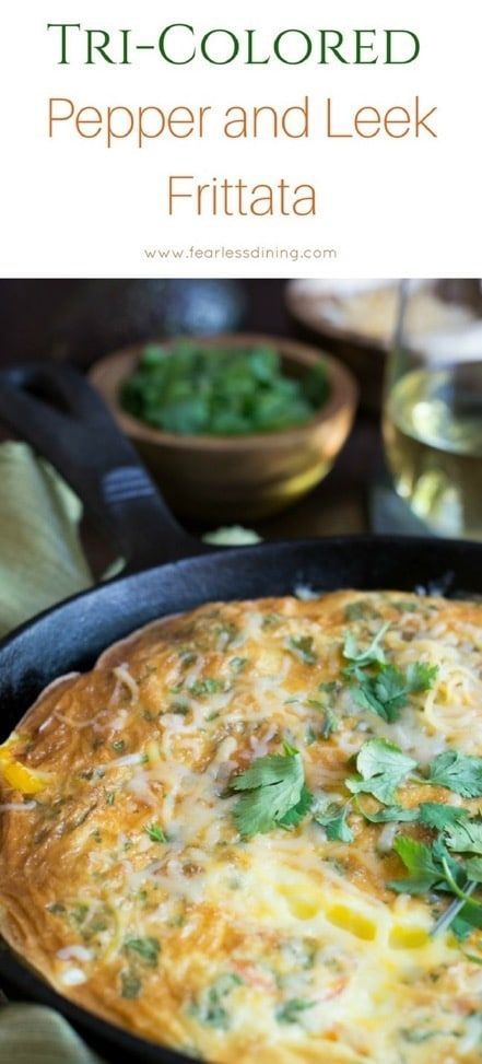 If you love breakfast, this tri-colored pepper and leek frittata is a breakfast recipe you will want to make. You can customize this frittata recipe with your favorite vegetables. This veggie frittata is light and fluffy. via @fearlessdining