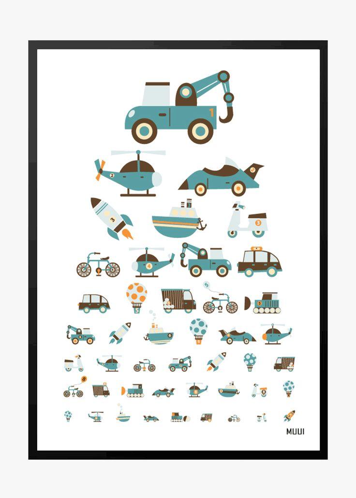 MUUI syntavle med biler, cykler, raketter mm