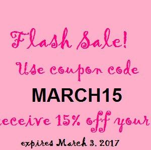Don't forget! Use coupon code MARCH15 to receive 15% off your order. Good through March 3!