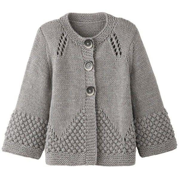 John Lewis Women Chunky Handknit Cardigan, Grey, Small (260 DKK) found on Polyvore