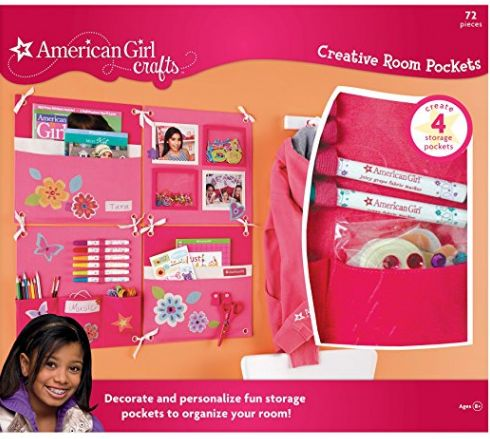 Create a fun and functional wall organizer with this CREATIVE ROOM POCKETS KIT from American Girl. The kit creates 4 storage pockets that can be assembled in a number of ways. The kit includes a project and idea book, 4 canvas panels, fabric stickers, adhesive rhinestones, 2 fabric markers, and ribbon.      arts and crafts for 12 year olds, craft kits for 10 year old girls | craft kits for 10 year olds | craft kits for girls age 10 | craft kits for girls age 11 | craft kits for girls age 12