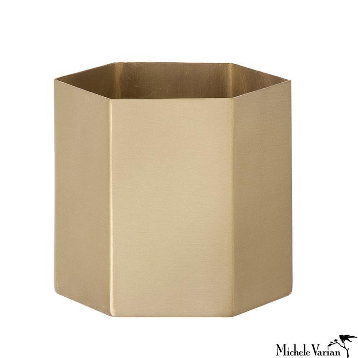 Brass Hexagon Container Medium