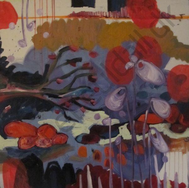 """""""Skovens stille fest""""  Mixed Media - 100 x 100 cm  -Jeanette Uldall"""