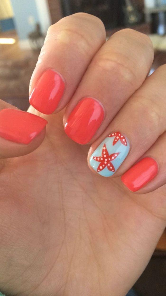 diseños de uñas, tonos llamativos, naranja, estrella amarilla, color azul de fondo, bonito