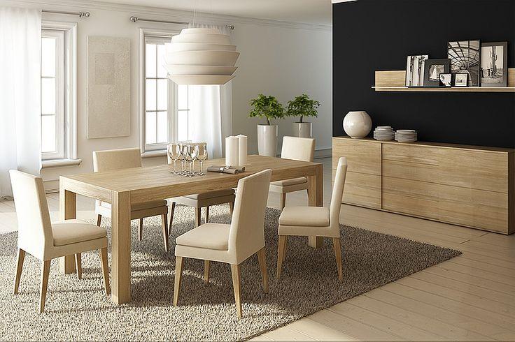BLOX folding table. Size: 200x90x76cm. Colour: Natural. - www.miloni.pl/en MILONI: wooden table, oak table, natural wood table, table design, furniture design, modern table