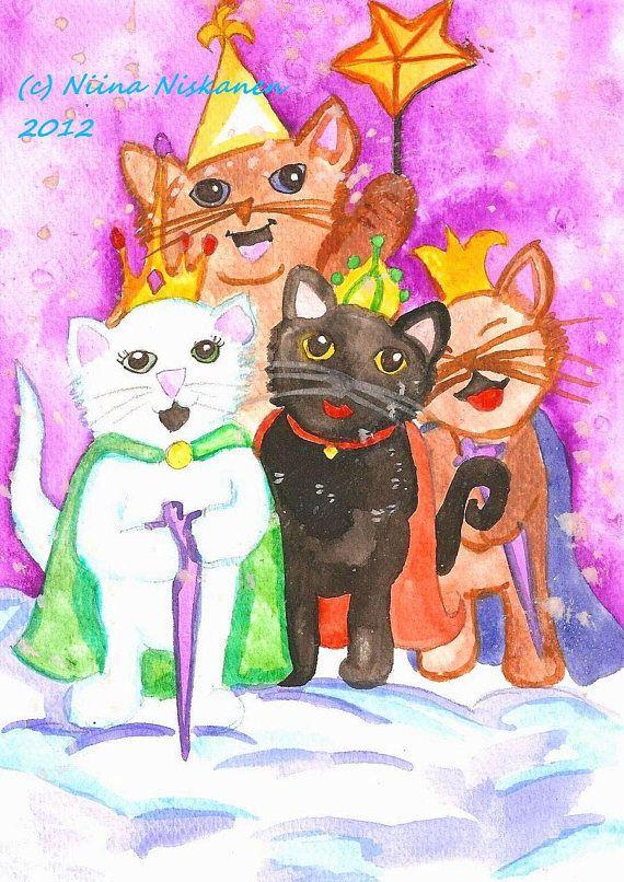 Star Cats Christmas ACEO Art Print Holidays Winter Seasonal