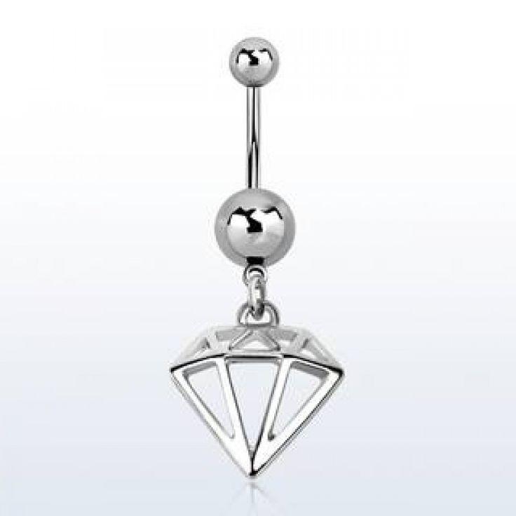 Piercing de ombligo con diseño de diamante
