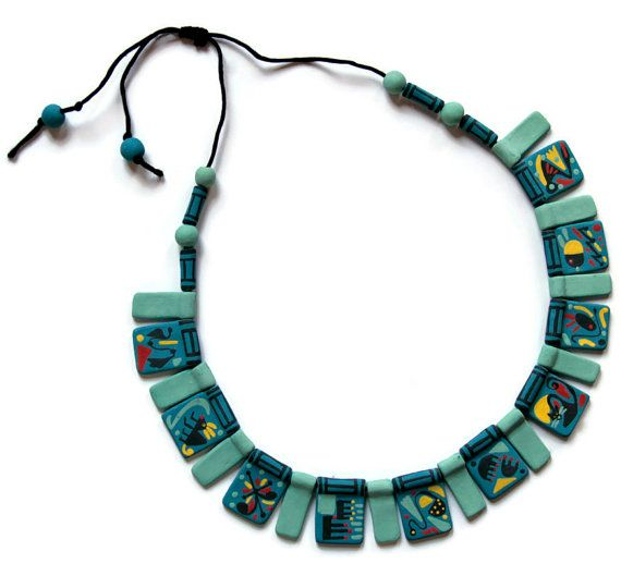 unique ceramic necklace with abstract decoration by Egeo on Etsy