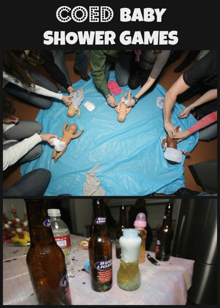 Coed baby shower games events bottle and baby shower for Baby shower diaper decoration game