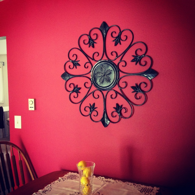 New red kitchen wall! Pomegranate Red