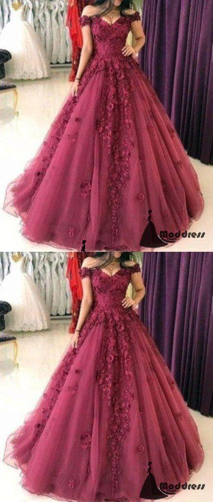 3D Floral Applique Long Prom Dress Off the Shoulder A-Line Evening Dresses,HS448