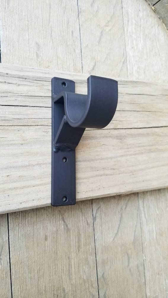 Special Heavy Duty Iron Brackets With Support Wood Pole Iron Etsy Curtain Rods Curtain Rod Brackets Diy Curtain Rods