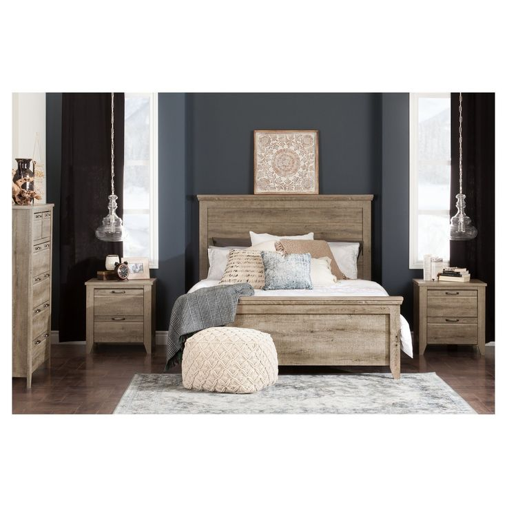 industrial bedroom furniture melbourne%0A South Shore Lionel Bed Set  Queen  Weathered Oak