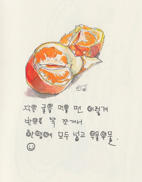 Mandarin Orange.  Watercolor.