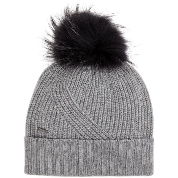 Woolrich Grey fur pompom beanie ($115) ❤ liked on Polyvore featuring accessories, hats, gray beanie, gray hat, fur pom-pom hats, beanie cap and beanie hat