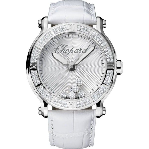 CHOPARD Happy Sport XL stainless steel, diamond watch ($21,445) ❤ liked on Polyvore featuring jewelry, watches, sports wrist watch, stainless steel jewelry, chopard jewelry, sport watches y roman numeral watches