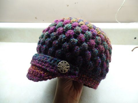 Crochet Newsboy Puff Stitch Hat TUTORIAL - YouTube: I made this hat using worsted weight yarn. I just made the larger increase and added extra rows for the main body. Worked perfectly.