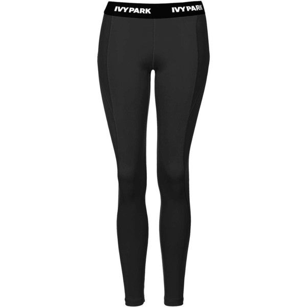 """I"" Low-Rise Ankle Leggings by Ivy Park ($65) ❤ liked on Polyvore featuring pants, leggings, low rise leggings, low rise trousers, low rise pants and legging pants"