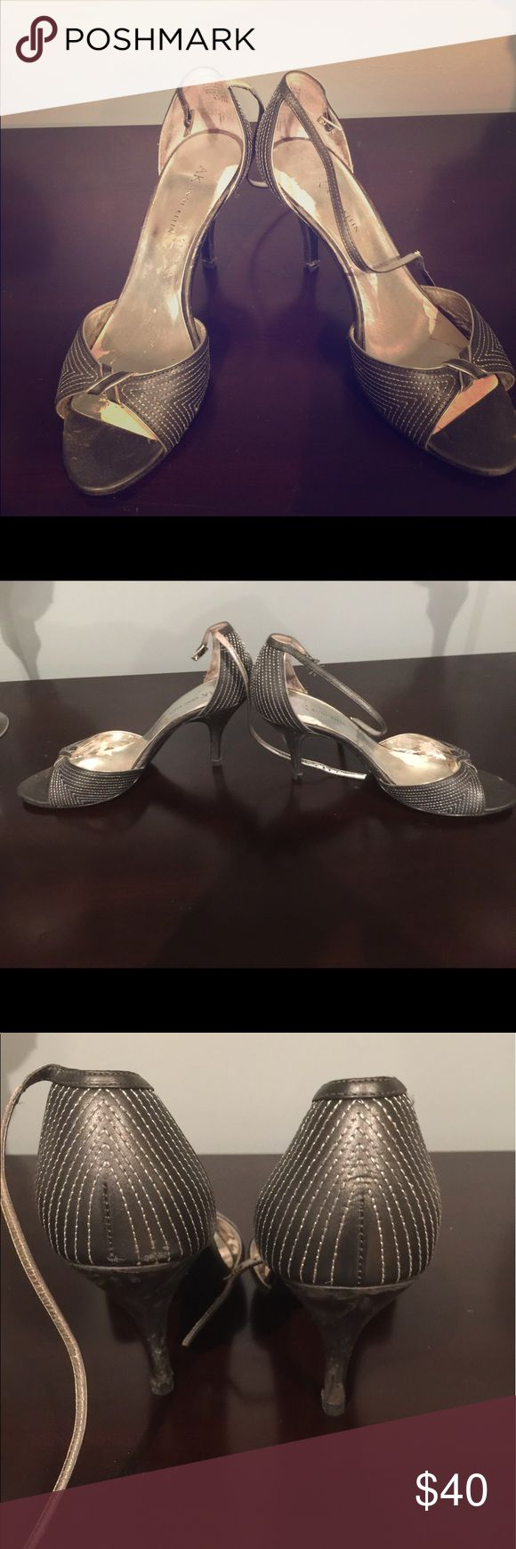 Anne Klein strappy silver sandal heels Pictures don't do these shoes justice - they are gorgeous! One of my favorite pairs but sadly must part with after my feet grew during pregnancy. My loss is your gain! Well loved with flaws, but lots of life left! Any offers welcome! Anne Klein Shoes Heels