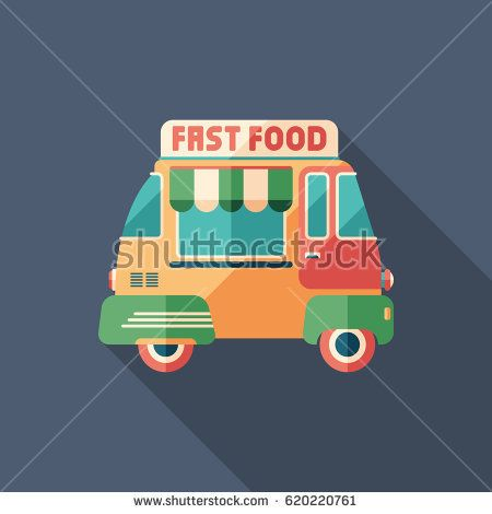 Fast food van flat square icon with long shadows. #foodicons #summericons #flaticons #vectoricons #flatdesign