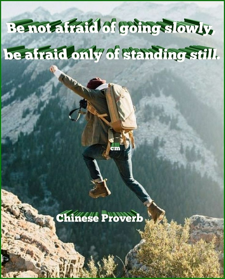 Be not afraid of going slowly, be afraid only of standing still. – Chinese Proverb