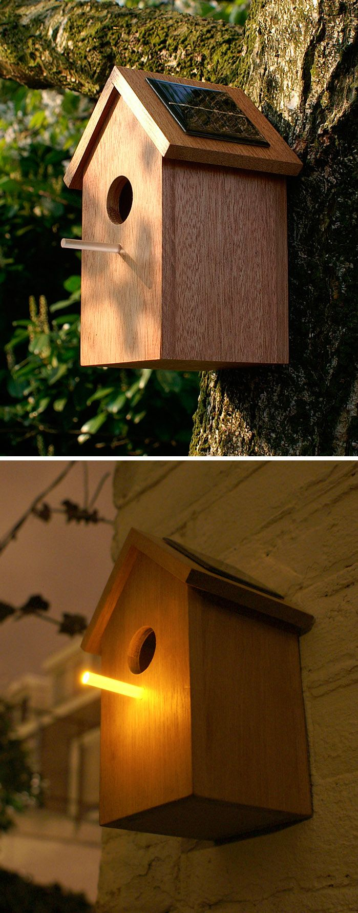 Solar birdhouse - During the day sunlight feeds the solar panel, charging a small battery inside. At twilight the transparent stick will light up and cast a tiny light, attracting bugs for an easy snack.
