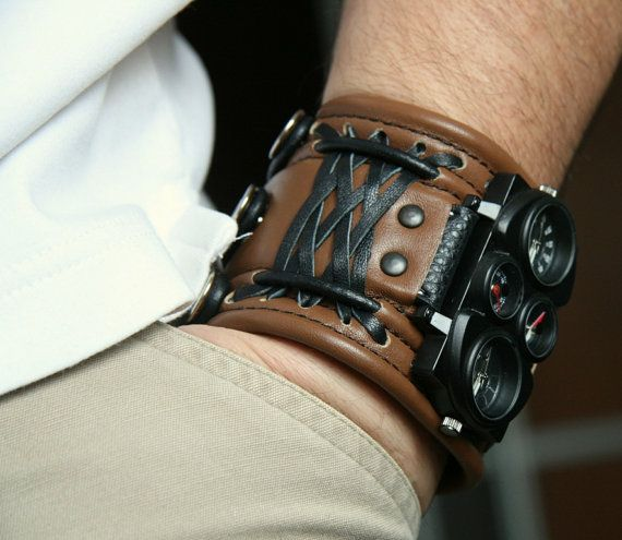 "Men's Wrist watch leather bracelet ""Voyager"" Steampunk Watch. $170.00"