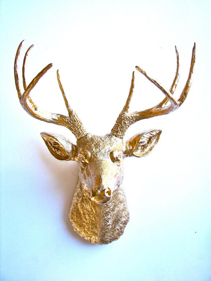 Faux Taxidermy Deer Head wall mount in GOLD. $109.00, via Etsy. - 20 - Faux Deer Head Wall Mount Cymun Designs