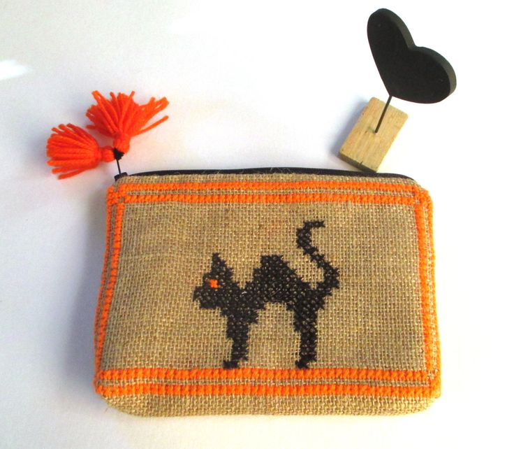 Burlap pouch bag, cross stitch embroidery with black cat,accessories pouch, handmade pouch, travel accessory by Apopsis on Etsy