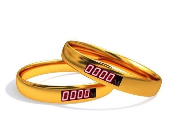 Обручальные кольца со счетчиком расстояния между ними