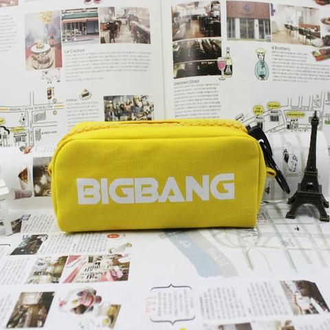 BIGBANG Korean Band Canvas Cosmetics Make-up Yellow Pencil Case. #BIGBANG #KoreanBand #Canvas #Cosmetics #Makeup #Yellow #PencilCase