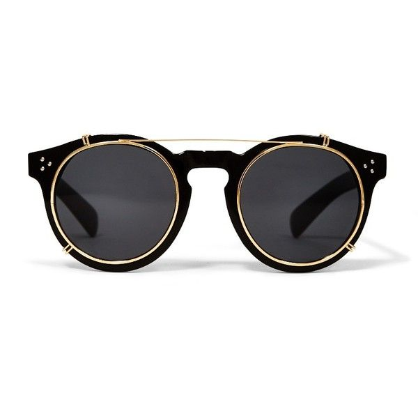 Jeepers Peepers Round Flip Sunglasses Black (1,425 DOP) ❤ liked on Polyvore featuring accessories, eyewear, sunglasses, flip sunglasses, jeepers peepers, round eyewear, flip up glasses and round sunglasses