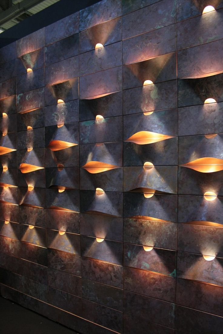 #ARTmetal © ideas. www.aias.se Lum panel @ Salone Satellite 2013. LUM is a wall covering system made out of copper with in-built light units designed to fit the user's needs. http://www.archilovers.com/projects/83658/lum-panel.html#images