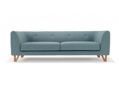 Eddie, 3-seater sofa, Fabio Grey Green, Oak Legs
