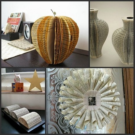 Upcycled Book Crafts And Home Decor Apartment Therapy Craft Using Old Books Pinterest