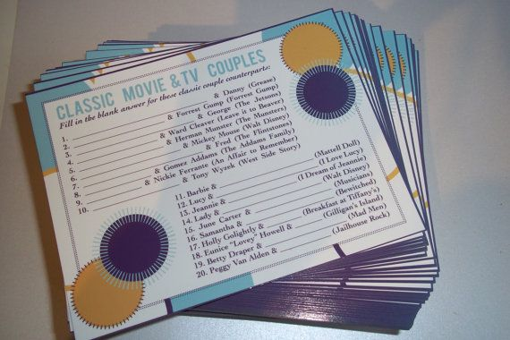 Pack of 10 Bridal Shower Game Cards  50's / 60's by CMSStationery, $3.12