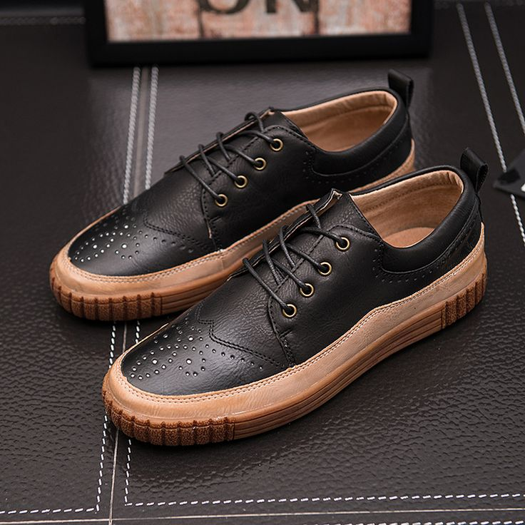 Brand Autumn New Trendy Shoes Quality Genuine Leather Soft Casual Gentleman Brogue Style Men's Shoes 38-48 Large size