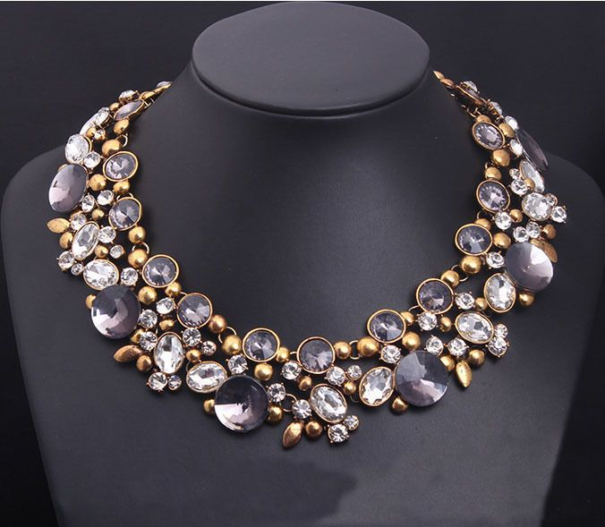 Black Bead and Diamantee Crystal Three Layer Faux Pearl Necklace Pendant Costume Fashion Jewellery YrGrsf47EZ